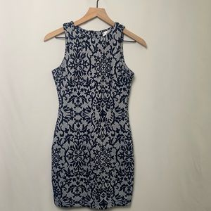 HONEY AND ROSIE Blue & White Floral Bodycon Dress